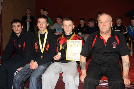 Convoy Boxing Club members at the Ulster 9 Counties Championships on Sunday afternoon. Mark McElhinney, Rory McElhinney, Bryan McNamee, 60kg Boys 14yr old champion and coach Dominic McCafferty, missing from picture is Keenan Gibson, Boys 4 70kg Class.