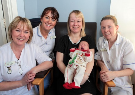 Susan Flinter from Convoy with baby girl Kailee who was born on Christmas day in Letterkenny General Hospital. They are pictured above with staff midwives, Bridin Browne, Bernie Frain and Martina McGinley.