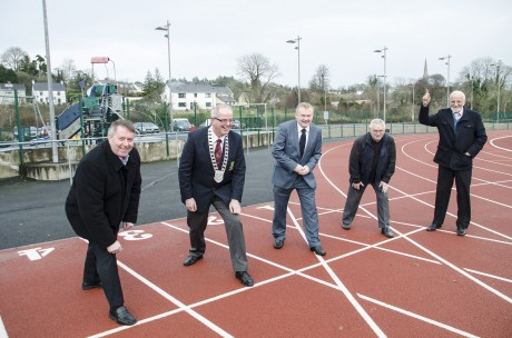 Town councillors Gerry McMonagle, Paschal Blake, Dessie Larkin and Tom Crossan get set and ready with Danny McDaid.