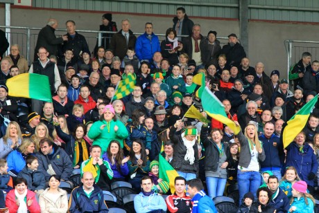 Glenswilly supporters cheer on the team at Healy park.