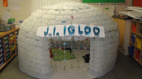 The igloo is ready for the children.