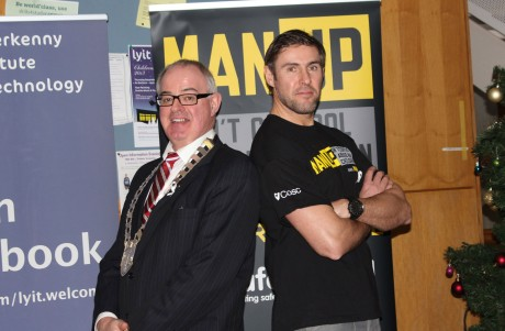 Cllr. Paschal Blake, Mayor of Letterkenny, and Jason Black at the Man Up launch.