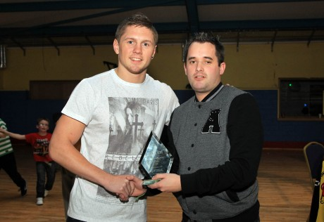 Chris McNulty, Donegal News presents boxer Jason Quigley with Donegal News Sports Star Award from October on Saturday night at the Finn Valley ABC tournament. Photo: Donna McBride