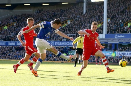 Seamus Coleman scores for Everton against Southampton.