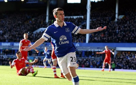 Seamus Coleman celebrates his goal against Southampton.
