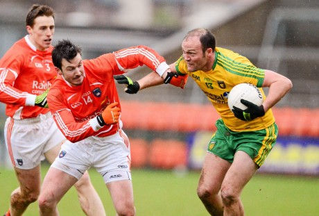 Colm McFadden in action against Armagh. The St Michael's man netted a crucial goal.