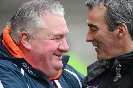 Paul Grimley and Jim McGuinness pictured before the game in Armagh.