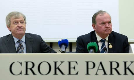 Director General Paraic Duffy with the GAA President Liam O'Neill at the launch of the Director General's annual report today at Croke Park.
