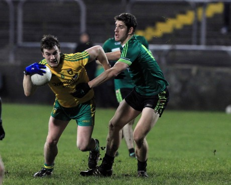 Harry Óg Conlon of Queen's University challenges Donegal's Leo McLoone. Photo: Donna McBride