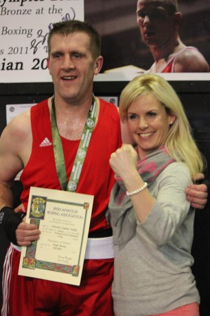Paul Tierney with his wife, Viki, after his win on Saturday.