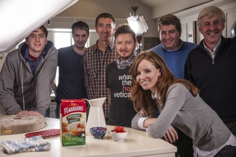 L to R : James Flahavan (Flahavan's), Kirk Bannon (‎Irish International Advertising), Aidan Dowling (Irish International Advertising),   Brian Williams (Director), John Noonan (Flahavan's), John Flahavan, (Flahavan's), Cheryl Rock (front).
