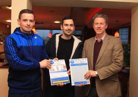 Pictured at the launch of the Mark Farren 5km Walk/Run/Jog are Kevin McHugh, Mark Farren and Anthony Kernan, Sponsor. The event will take place on Saturday 8th February in Killea.