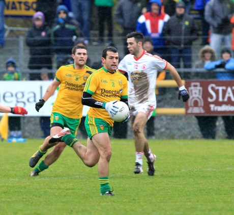 Frank McGlynn going forward against Tyrone last Sunday. Photo: Donna McBride