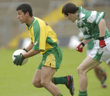 Frank McGlynn in action for the Donegal minors in the 2003 Ulster Minor Championship.