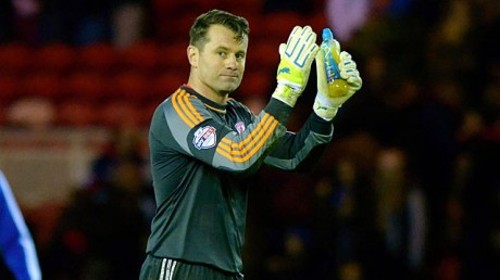Shay Given applauds fans at The Riverside Stadium.