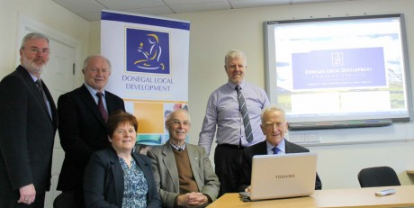 Jim Slevin, Chairperson of the DLDC pictured with fellow Board members Geraldine Boyce, John Starrett, PJ Hannon, Patrick Sweeney and CEO Caoimhin Mac Aoidh at the recent launch of the DLDC website. For more information on what DLDC can do for you and your community visit www.dldc.org