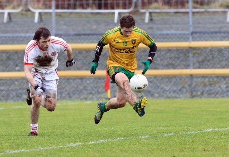 Darach O'Connor of Donegal gets ahead of Barry Tierney of Tyrone in Sunday's game.