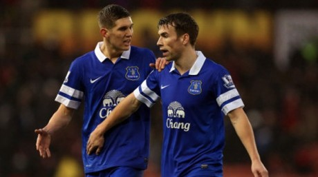 Seamus Coleman and John Stones, who replaced him in last night's draw.