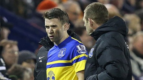Seamus Coleman leaves the action on Monday night.