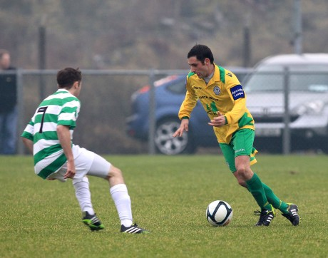 Gareth Harkin, Finn Harps against Liam O'Donnell of Cockhill Celtic during the recent friendly.