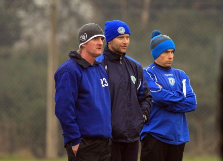 Finn Harps manager Ollie Horgan, left, with senior coach James Gallagher and goalkeeping coach Stephen Cutliffe. Photo: Donna McBride