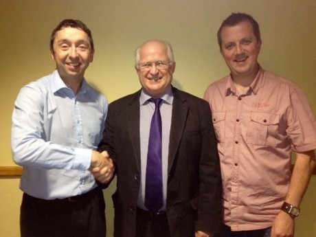 Changing roles: Mark Duffy (USL Assistant Secretary), Chairman Johnny McCafferty and Niall Callaghan (USL Secretary).