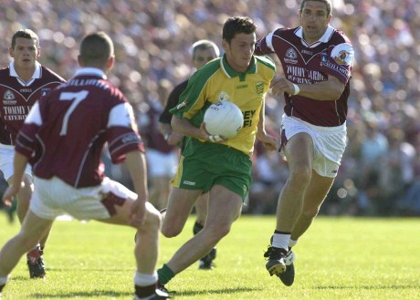 Christy Toye, in action against Kevin Brady and Kevin Walsh of Galway in the 2003 All-Ireland quarter-final replay in Castlebar.