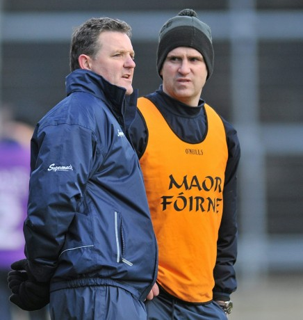 Galway manager Alan Mulholland, left, with selector Paul Clancy.