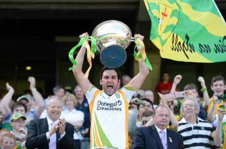 Donegal captain Joe Boyle lifts the Nicky Rackard Cup last June.