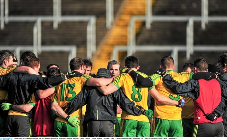 Jim McGuinness addresses his squad