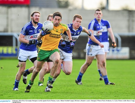 Rory Kavanagh powers away from Laois in the recent game at O'Moore Park.