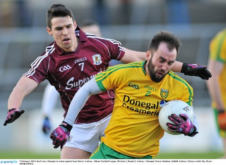 Karl Lacy, Donegal, in action against Sean Denvir, Galway.