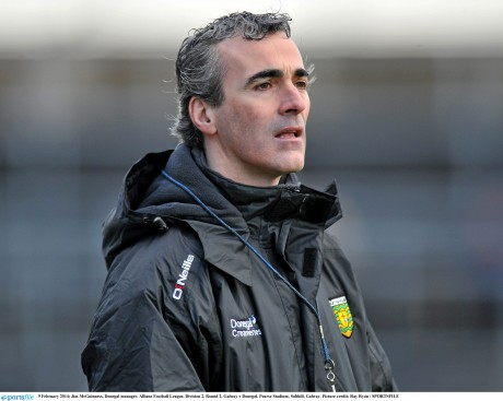 Donegal manager Jim McGuinness watches his side take victory in Galway.