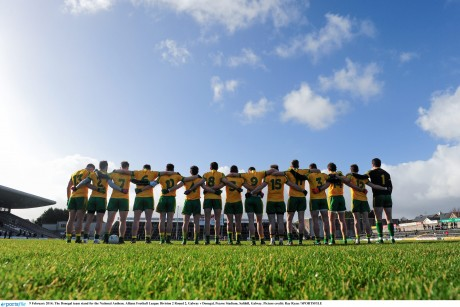 The Donegal team stand for the National Anthem before their game against Galway in Salthill. Photo: Ray Ryan/SPORTSFILE
