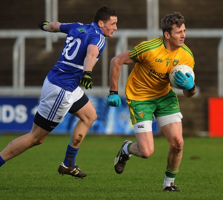 Donegal's Christy Toye drives forward in Portlaoise.