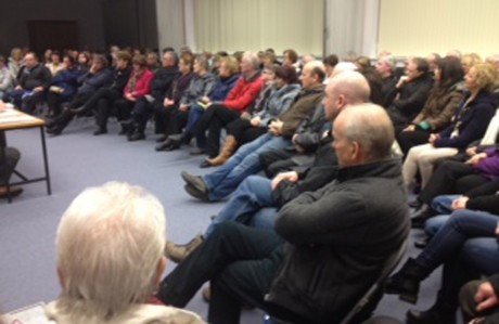 The large attendance at the meeting to Save Bunbeg Post Office.