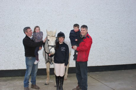 Tom Melvin and Jemma Jordan meeting Clodagh Barry and some of the horses that will be taking part in Clodaghs 100 mile challenge to raise funds for Donegal Down Syndrome Association.
