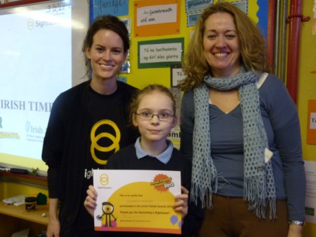 Roisin Cronin (SS) Elizabeth McGlynn (regional winner) and Ms Kate McTeague (teacher).