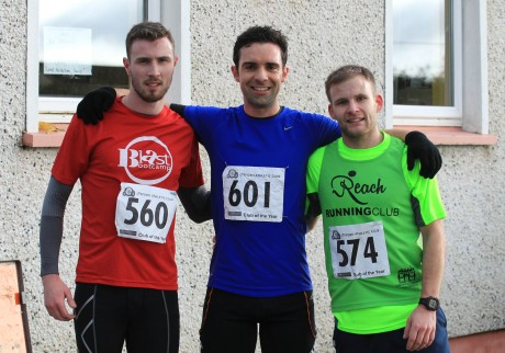 First 3 finishers at the Mark Farren 5km event on Saturday morning are michael Black, 24/7 Triathalon club, Daniel Quigley, Trident Coaching and Kyle Doherty, Reach Running Club. Photo: Donna El Assaad