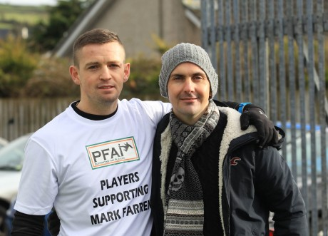 Kevin McHugh, Finn Harps, with Mark Farren.