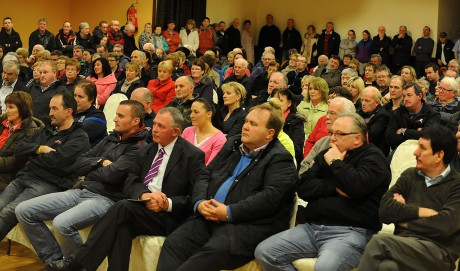 A section of the large crowd who attended the meeting in the Highlands Hotel, Glenties. Photo: Michael O'Donnell.