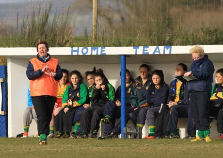 Donegal manager Margaret Foy giving orders from the dug-out yesterday.