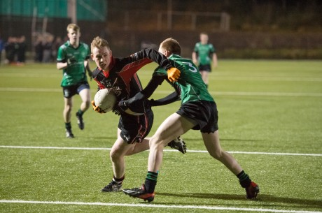 St Eunan's Sean Hume has his sights on goal during Wednesday night's semi-final.