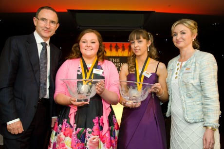 Martin O'Neill with Caroline Faulkner and the two All Ireland Youth Volunteers of the Year who were named last night.
