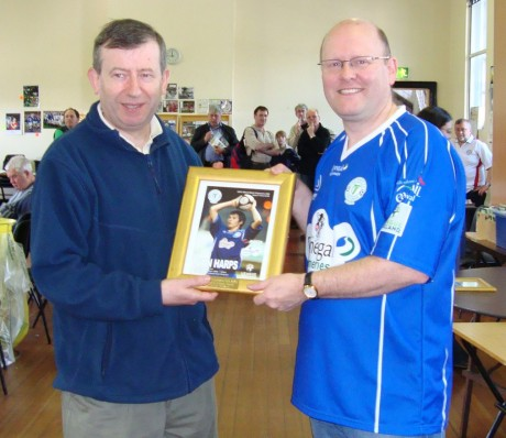 Charlie O'Regan of the Irish Programme Club presenting Bartley Ramsay (Finn Harps) with an award for First Division Programme of the Year 2009.  The award was presented in May 2010
