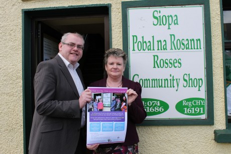 John Curran Manager of the Donegal Volunteer Centre with Norah Cullinan Breslin of Rosses CDP at the recent Community Shop Poster Launch.
