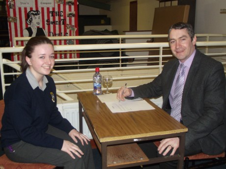 Dermot Farrell, Property Sales Negotiator from Donegal Investment Group conducting a mock interview with a student from Deele College, Raphoe as part of the BITCI Skills @ Work Programme.