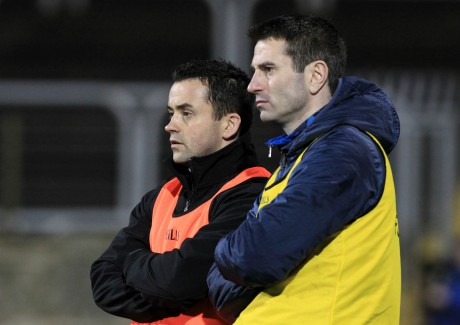 Maxi Curran and Rory Gallagher watch on Wednesday night as Donegal overcome Fermanagh.