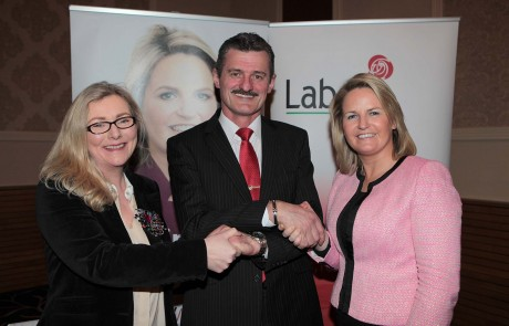 Senator Lorraine Higgins (right) who chaired the Labour Party convention in Letterkenny on Friday night pictured with candidates Christy Galligan and Siobhan McLaughlin.