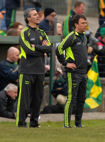 Jim Mc Guinness and John Duffy on the sideline, in the league game in Fr. Tierney Park, Ballyshannon.